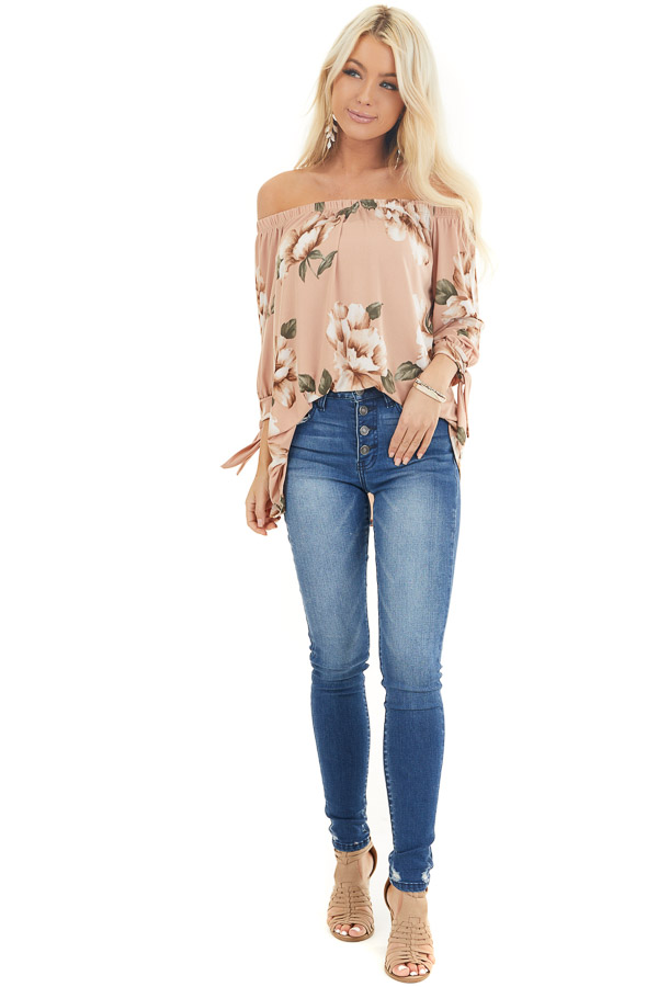 Dusty Blush Floral Print Off Shoulder Top with Sleeve Ties front full body
