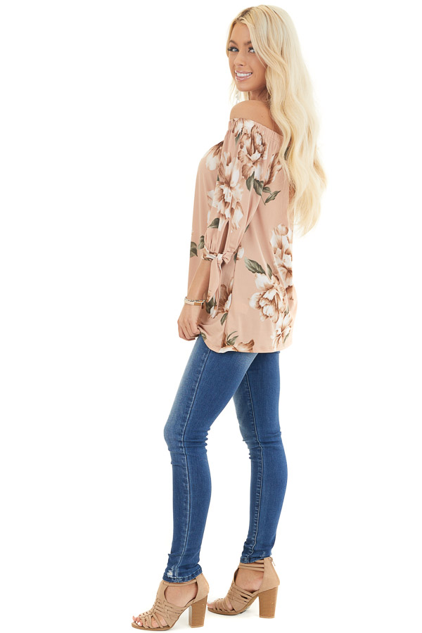 Dusty Blush Floral Print Off Shoulder Top with Sleeve Ties side full body