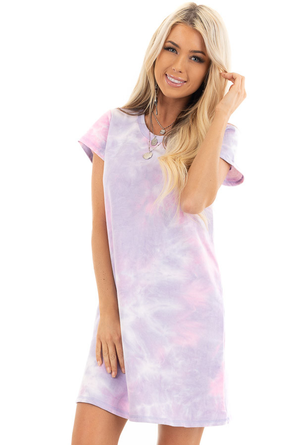 Baby Pink and Lavender Tie Dye Dress with Short Sleeves front close up