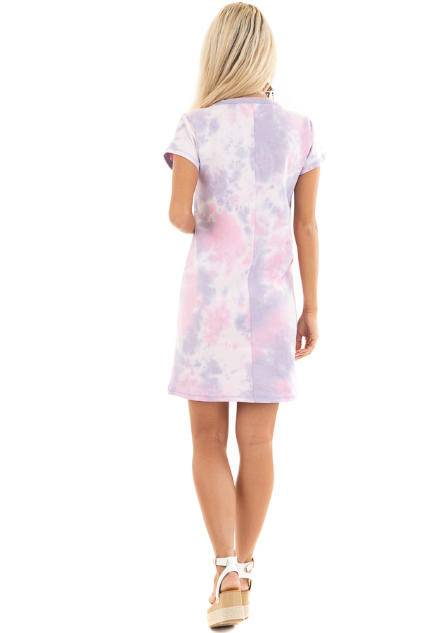 Baby Pink and Lavender Tie Dye Dress with Short Sleeves back full body