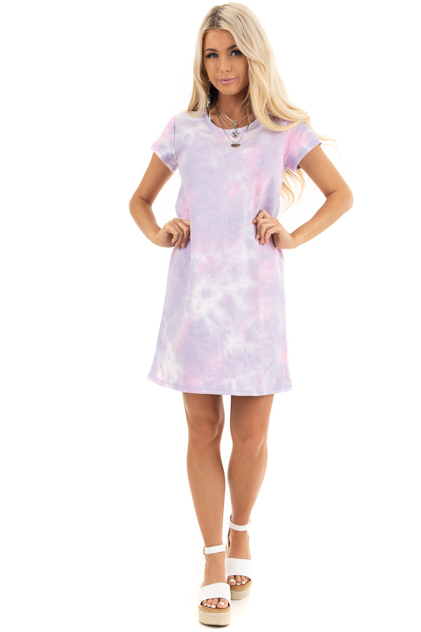 Baby Pink and Lavender Tie Dye Dress with Short Sleeves front full body