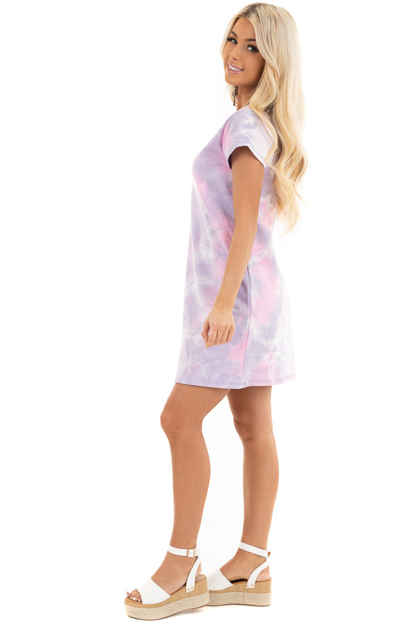 Baby Pink and Lavender Tie Dye Dress with Short Sleeves side full body