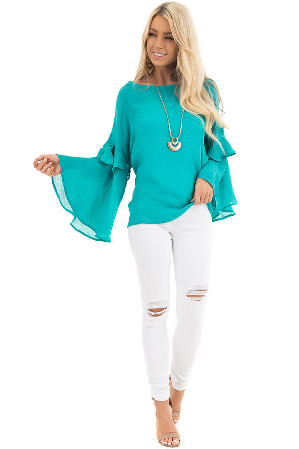 Teal Blue Top with Long Bell Sleeves and Keyhole Back front full body