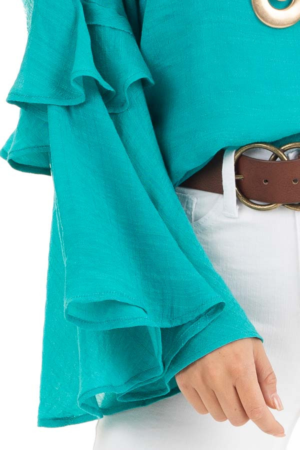 Teal Blue Top with Long Bell Sleeves and Keyhole Back detail