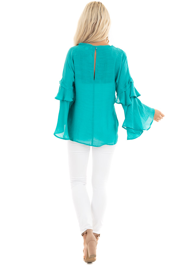 Teal Blue Top with Long Bell Sleeves and Keyhole Back back full body