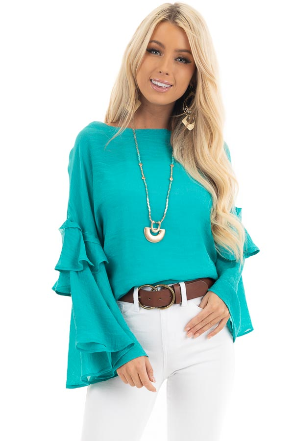 Teal Blue Top with Long Bell Sleeves and Keyhole Back front close up