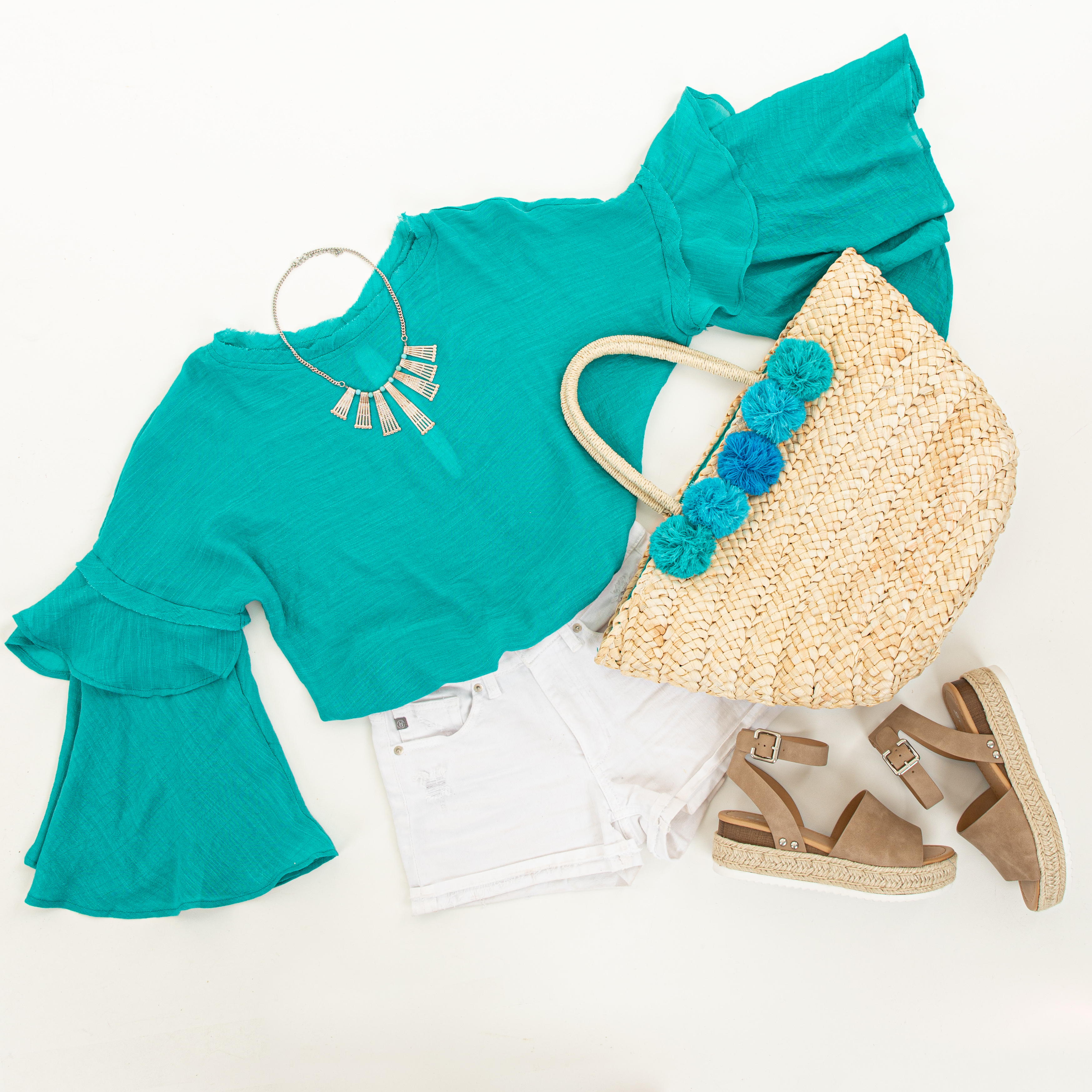 Teal Blue Top with Long Bell Sleeves and Keyhole Back