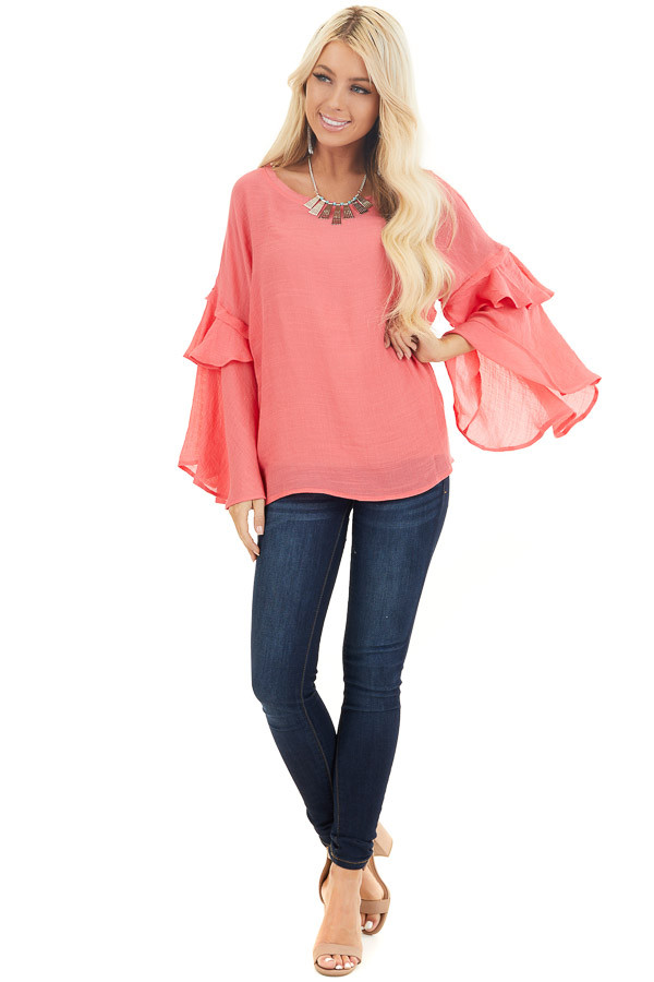Coral Top with Long Bell Sleeves and Keyhole Back front full body