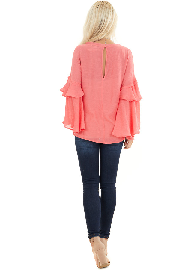 Coral Top with Long Bell Sleeves and Keyhole Back back full body