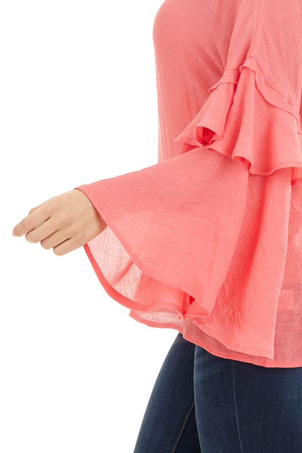 Coral Top with Long Bell Sleeves and Keyhole Back detail