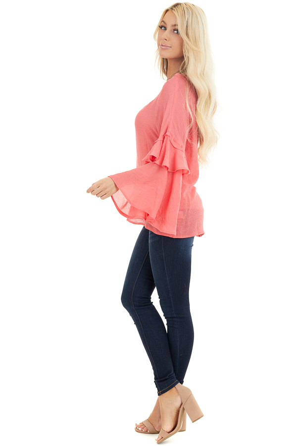 Coral Top with Long Bell Sleeves and Keyhole Back side full body