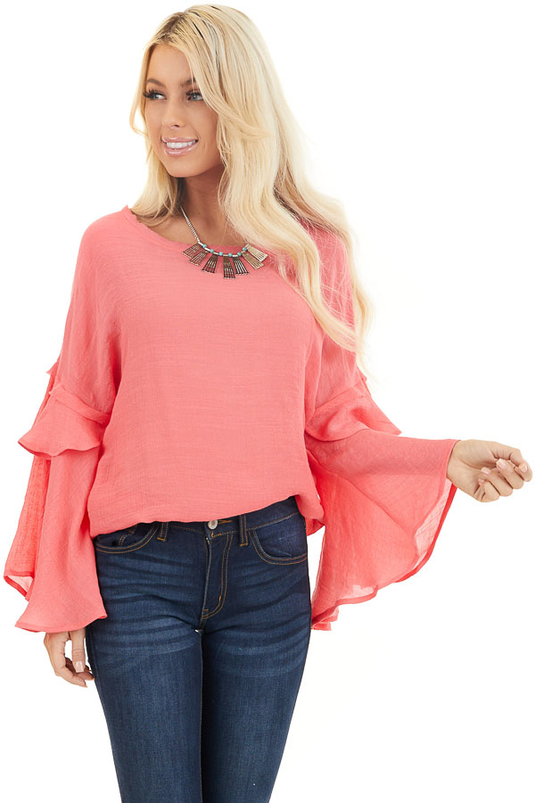 Coral Top with Long Bell Sleeves and Keyhole Back front close up