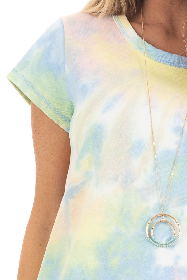 Periwinkle and Banana Tie Dye Dress with Short Sleeves detail
