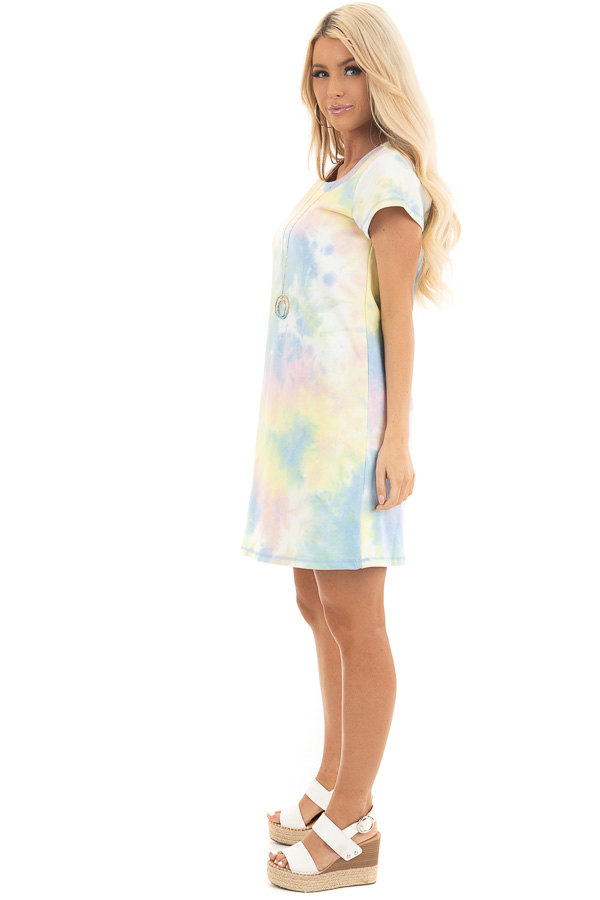 Periwinkle and Banana Tie Dye Dress with Short Sleeves side full body