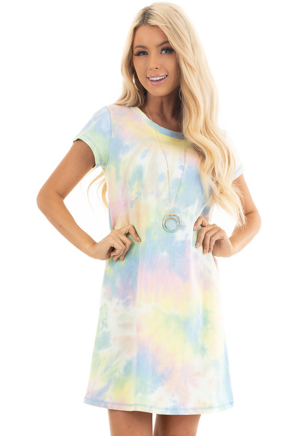 Periwinkle and Banana Tie Dye Dress with Short Sleeves front close up
