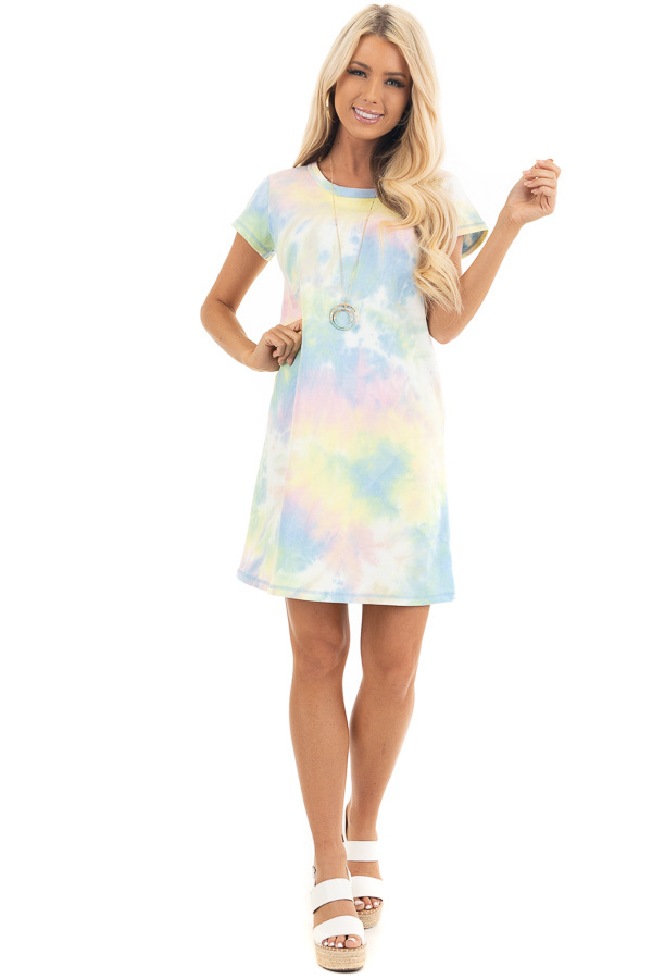 Periwinkle and Banana Tie Dye Dress with Short Sleeves front full body
