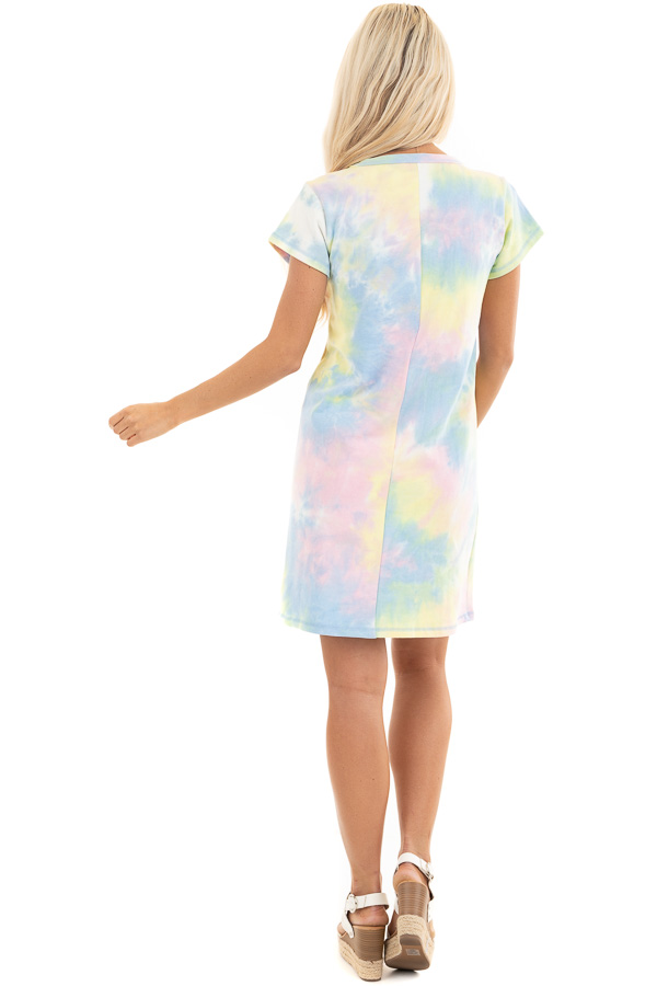 Periwinkle and Banana Tie Dye Dress with Short Sleeves back full body