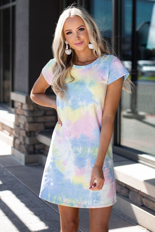 Periwinkle and Banana Tie Dye Dress with Short Sleeves