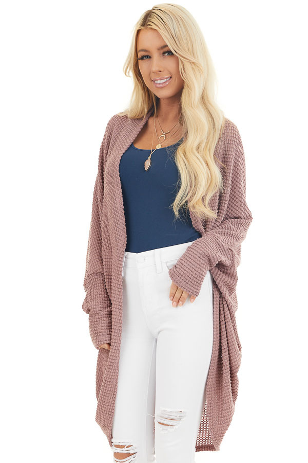 Mauve Waffle Knit 3/4 Sleeve Cardigan with Cocoon Hem front close up