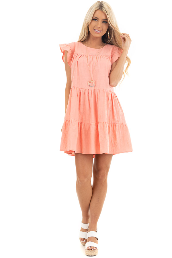 Coral Tiered Mini Dress with Ruffle Sleeves and Round Neck front full body