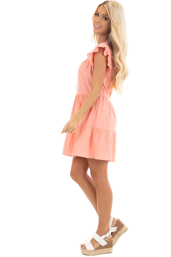 Coral Tiered Mini Dress with Ruffle Sleeves and Round Neck side full body