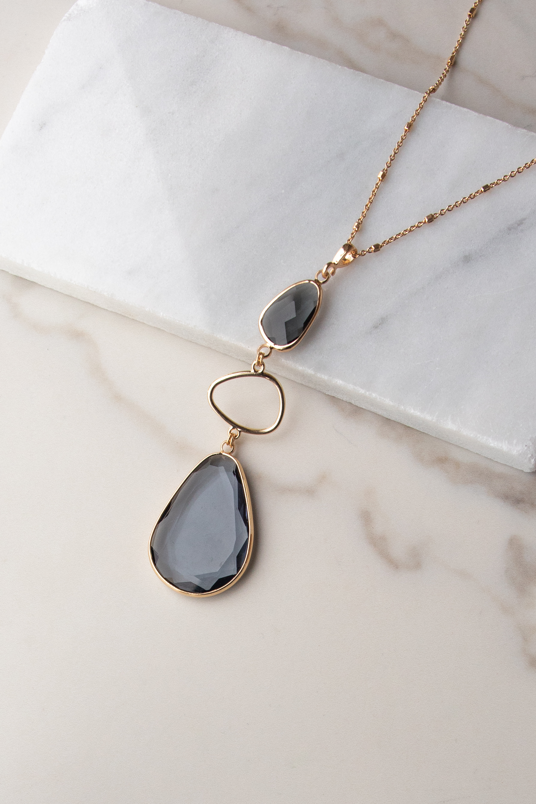 Gold Long Necklace with Teardrop Crystal Details