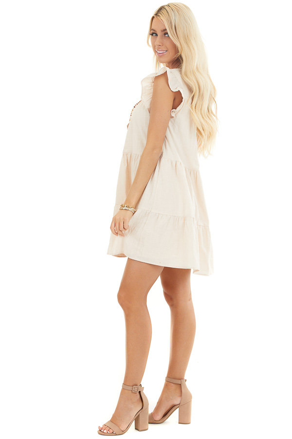 Oatmeal Tiered Mini Dress with Ruffle Sleeves and Round Neck side full body