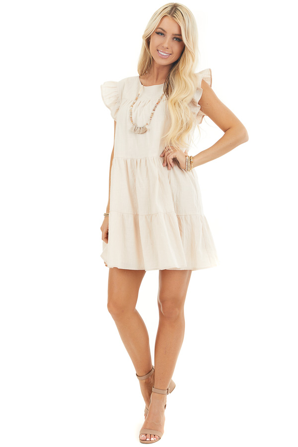 Oatmeal Tiered Mini Dress with Ruffle Sleeves and Round Neck front full body