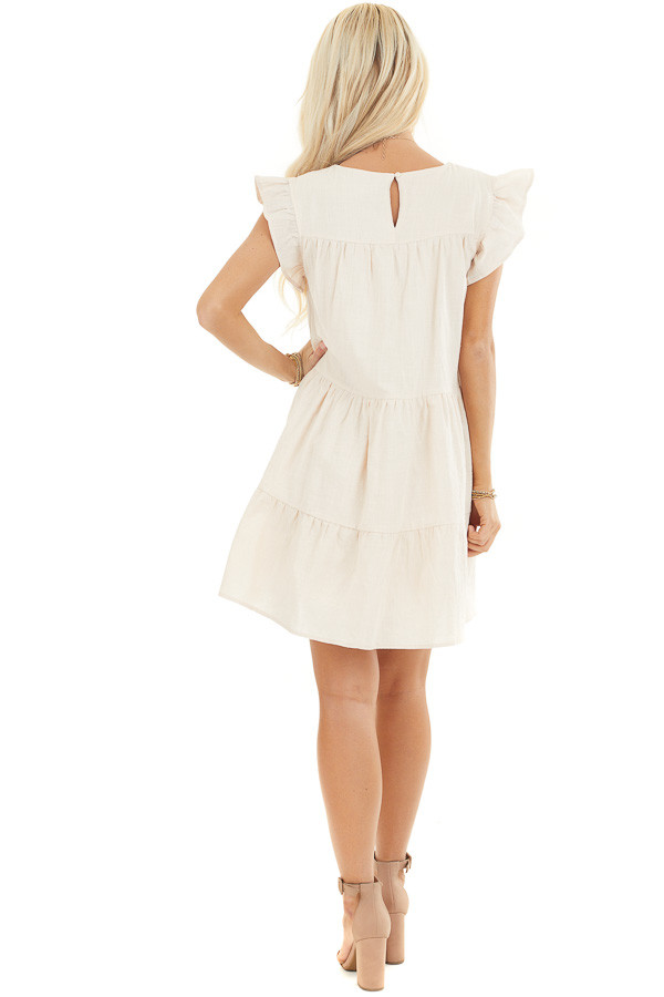 Oatmeal Tiered Mini Dress with Ruffle Sleeves and Round Neck back full body