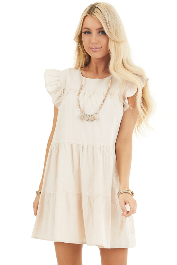 Oatmeal Tiered Mini Dress with Ruffle Sleeves and Round Neck front close up