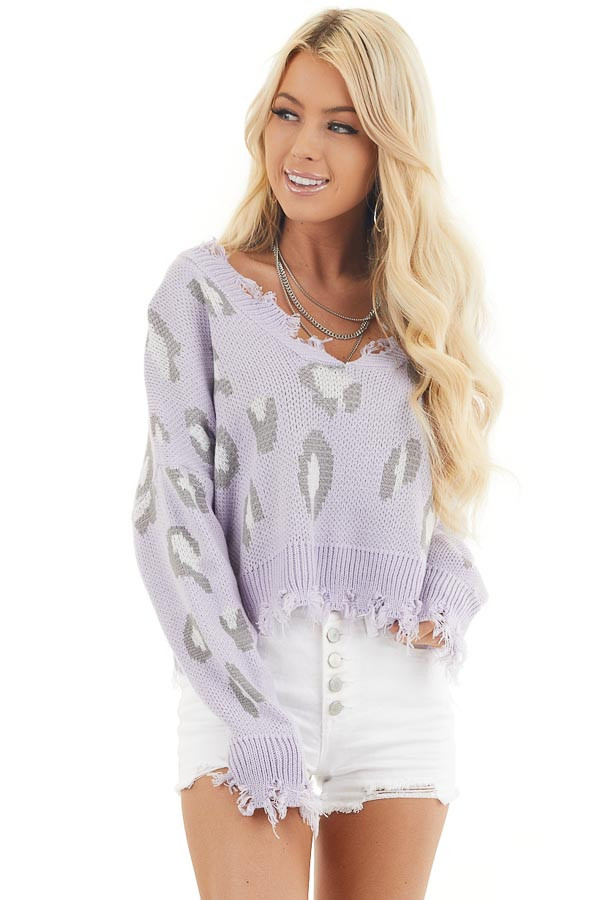 Lavender Leopard Print Distressed Sweater with V Neckline front close up
