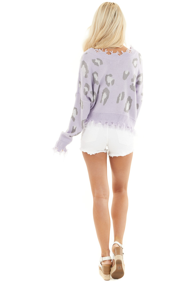 Lavender Leopard Print Distressed Sweater with V Neckline back full body