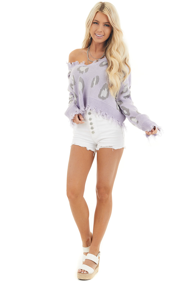 Lavender Leopard Print Distressed Sweater with V Neckline front full body
