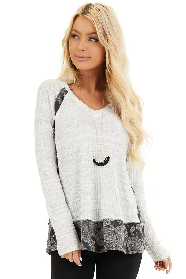 Cloud Waffle Knit Top with Paisley Print Contrast front close up