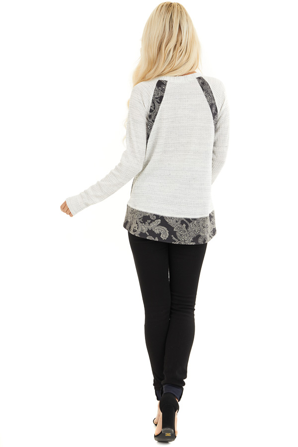 Cloud Waffle Knit Top with Paisley Print Contrast back full body