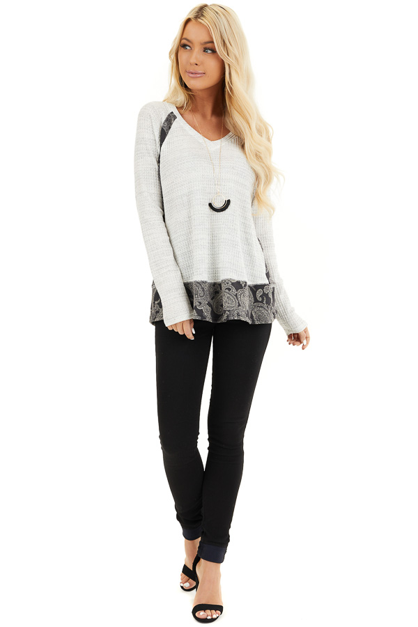 Cloud Waffle Knit Top with Paisley Print Contrast front full body