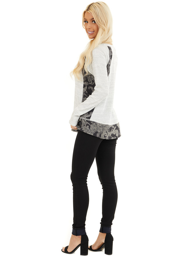 Cloud Waffle Knit Top with Paisley Print Contrast side full body