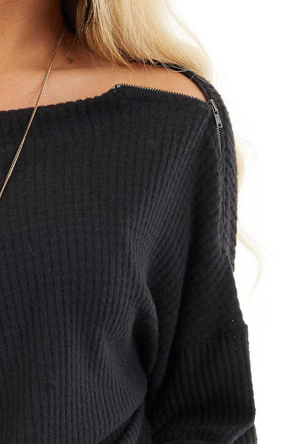 Black Long Sleeve Waffle Knit Top with Shoulder Detail detail