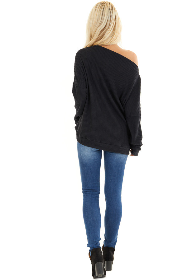 Black Long Sleeve Waffle Knit Top with Shoulder Detail back full body