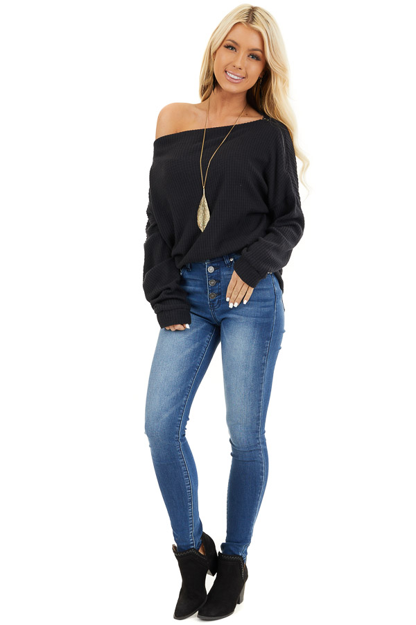 Black Long Sleeve Waffle Knit Top with Shoulder Detail front full body