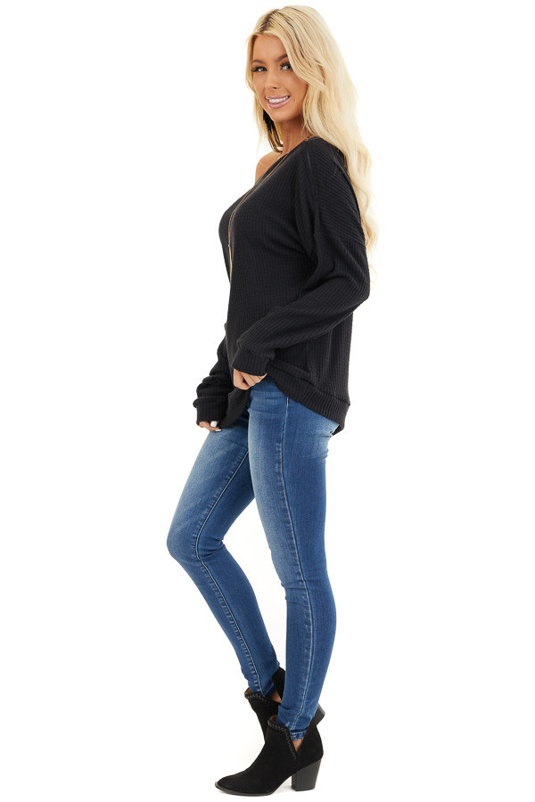Black Long Sleeve Waffle Knit Top with Shoulder Detail side full body