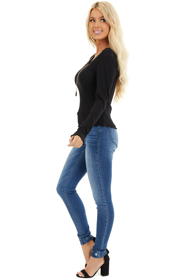 Black Ribbed Knit Top with Cinched Detail and Scalloping side full body
