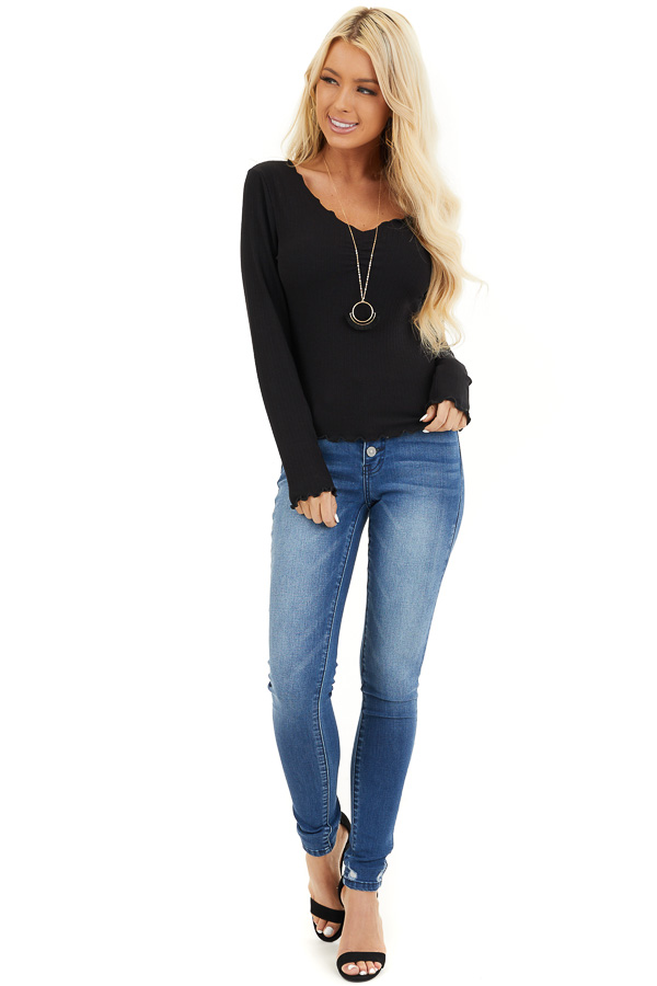 Black Ribbed Knit Top with Cinched Detail and Scalloping front full body