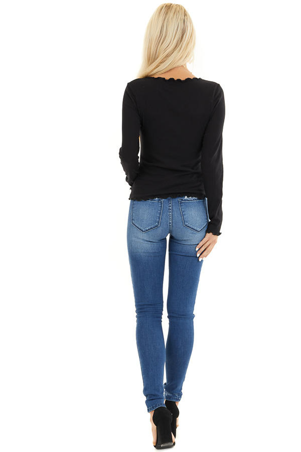 Black Ribbed Knit Top with Cinched Detail and Scalloping back full body