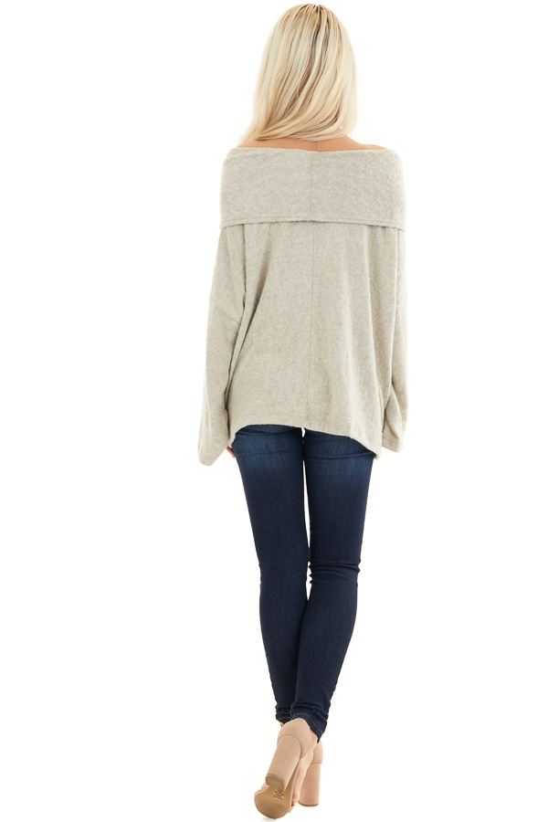 Oatmeal Off the Shoulder Long Sleeve Knit Top back full body