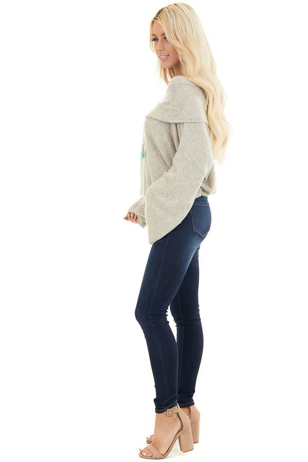 Oatmeal Off the Shoulder Long Sleeve Knit Top side full body