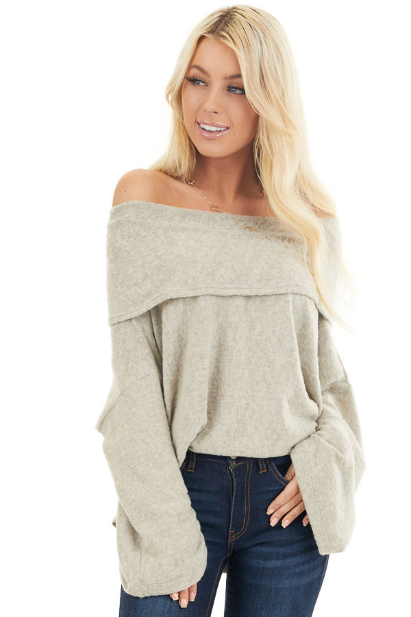 Oatmeal Off the Shoulder Long Sleeve Knit Top front close up