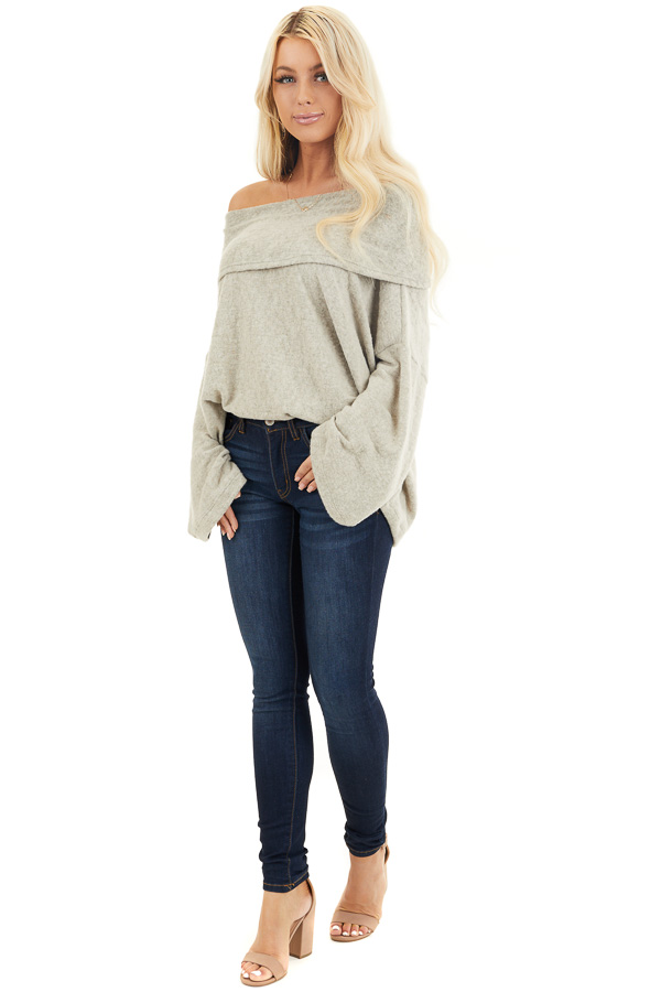 Oatmeal Off the Shoulder Long Sleeve Knit Top front full body