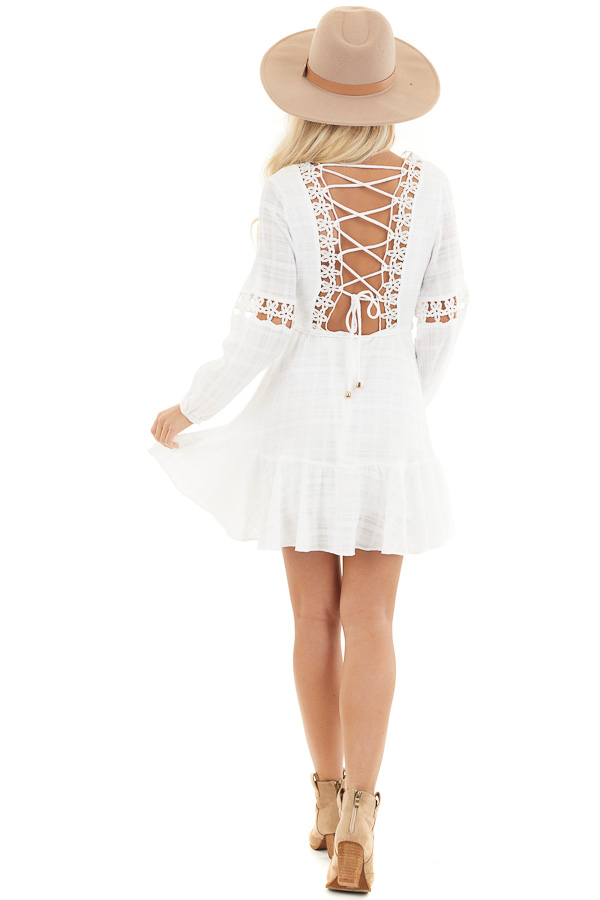 White Long Sleeve Dress with Floral Crochet Detail back full body