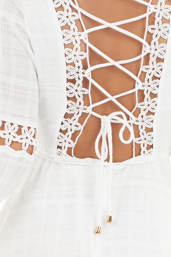 White Long Sleeve Dress with Floral Crochet Detail detail